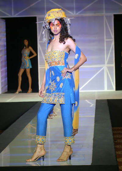 Blue silk kameez with mirror work and silk pants