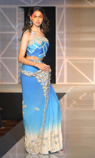 RD 141 - Blue off white sari