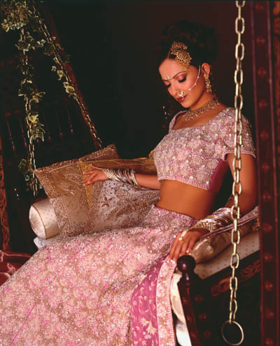 Pink Crystal lengha,Pure silk jacquard lengha with zardosi and swarovski crystal embroidery