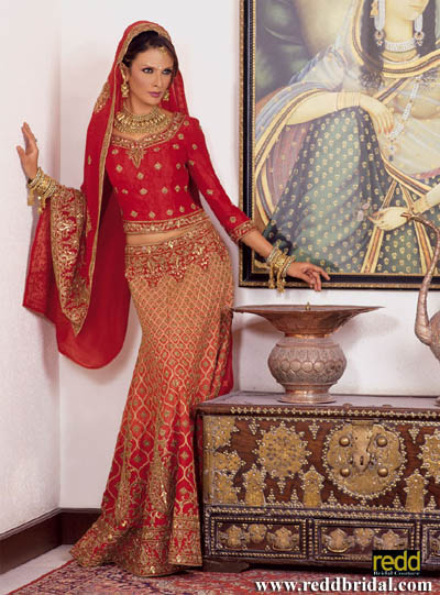 Orange and red jacquard graded lengha with encrusted belt and heavy dupatta